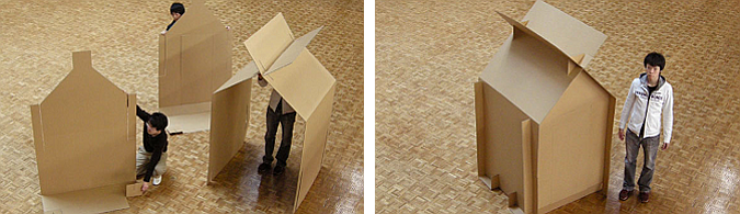 solidaridad en linea - cardboard shelter, temporally small house