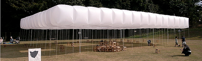 nube de cubos blancos - inflatable white cubes, temporary temple