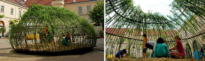 jugando en el nido -  Kagome sandbox, temporary pavilion
