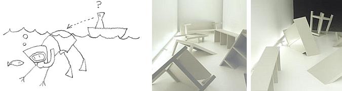 Muebles sumergiéndose en el suelo