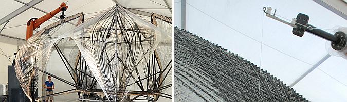 Robotically fabricated carbon and glass fibre