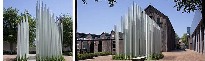 telar vegetal - textile growth installation