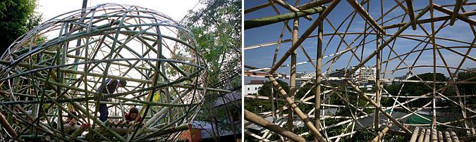 burbuja vegetal - bamboo treehouse, installation