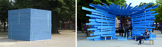 la caja azul - blue box, temporary information point