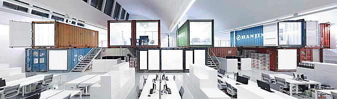 una nave industrial, dieciséis contenedores y un estudio de arquitectura - cargo offices