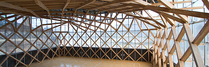 madera en red - forestry hall tomochi, gymnastics pavilion