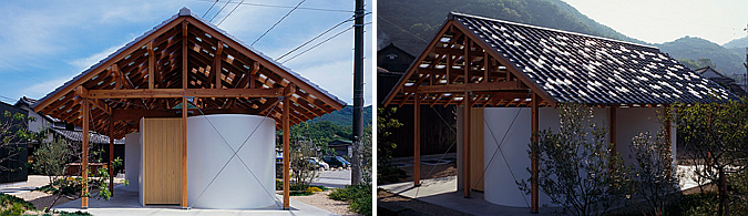 hut with the arc wall, public restroom 01