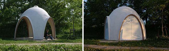 cuatro arcos y un refugio - sakan shell, temporaly structure