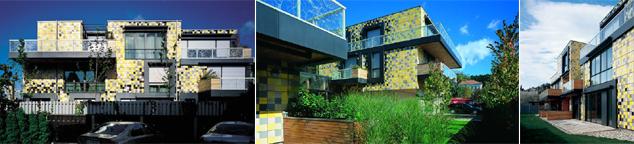 Pixels de cerámica en la fachada - casa salamandra