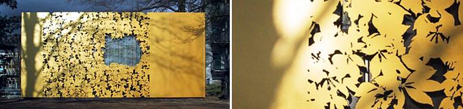 hojas recortadas sobre lamina dorada – zgg pavilion